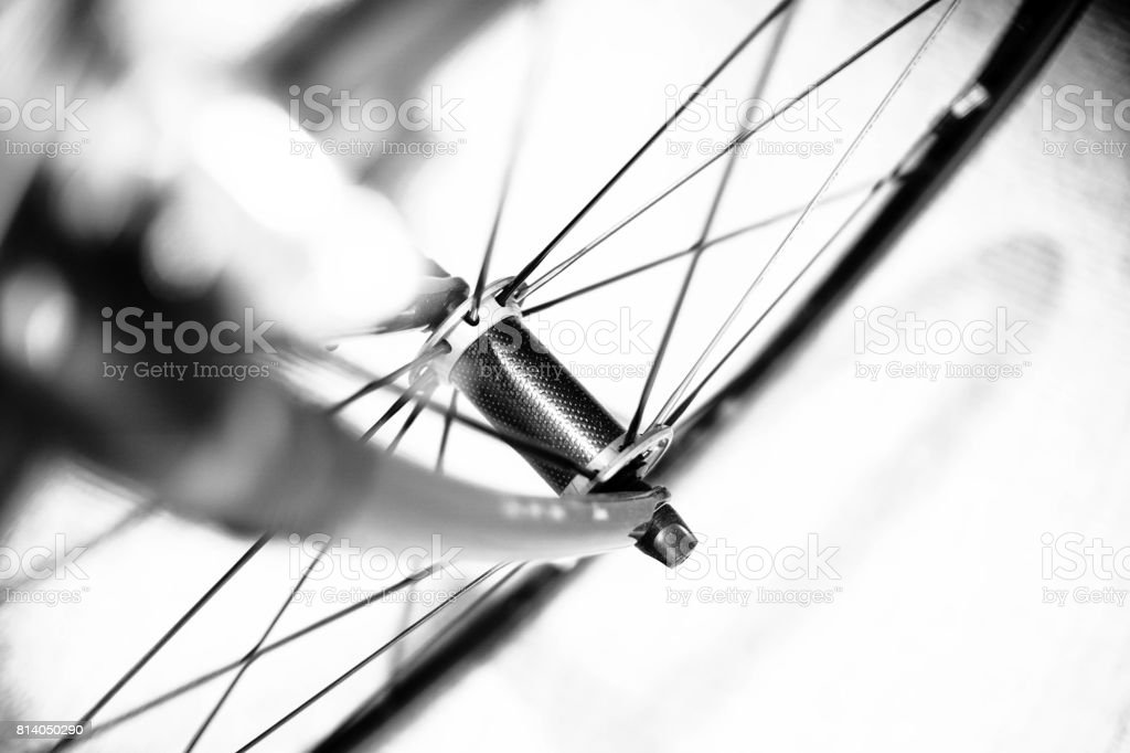 front bicycle forks with racing rims stock photo