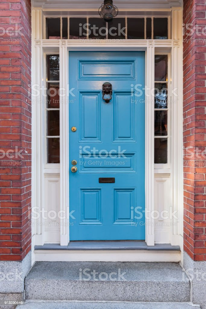 Front blue door stock photo