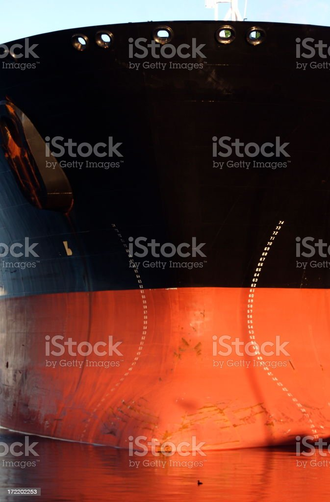Front Bow of an Oil Tanker royalty-free stock photo