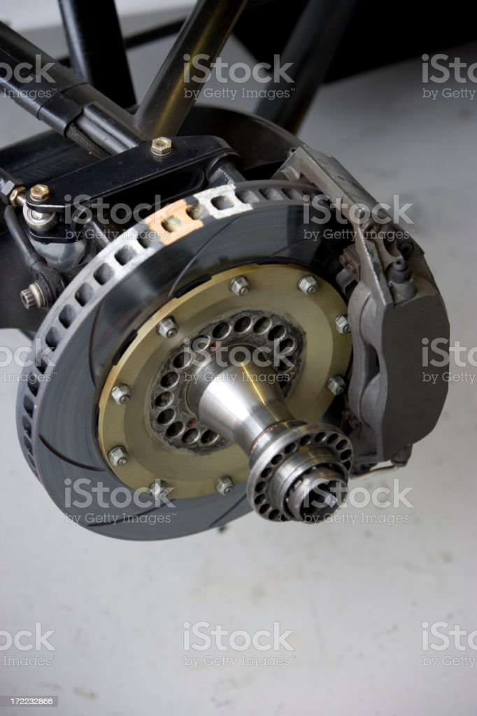 Front brake disc on a racing car royalty-free stock photo