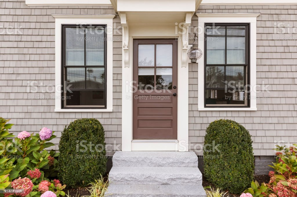 Front brown door stock photo