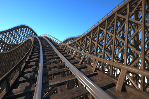 Front car view of a wooden roller coaster track