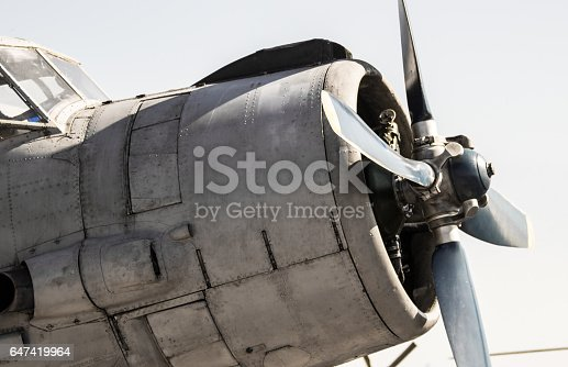 istock Front close-up of an old military plane. 647419964