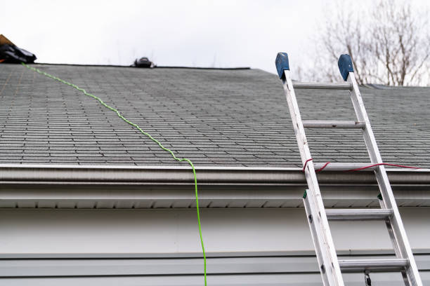 Front closeup of house during day over garage with gray color Single Family Home and roof shingles and ladder during repair stock photo