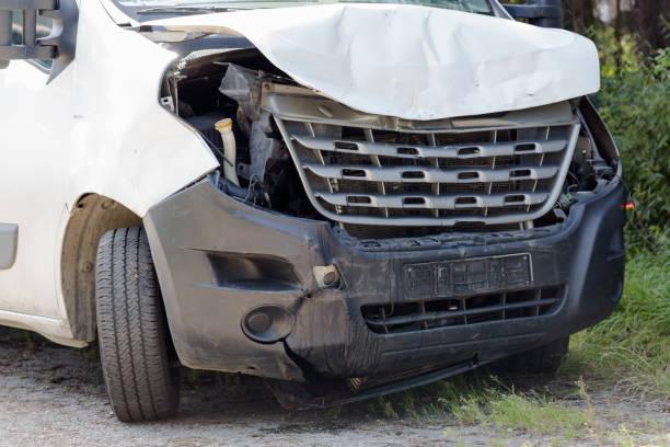 Front crashed van accident stock photo