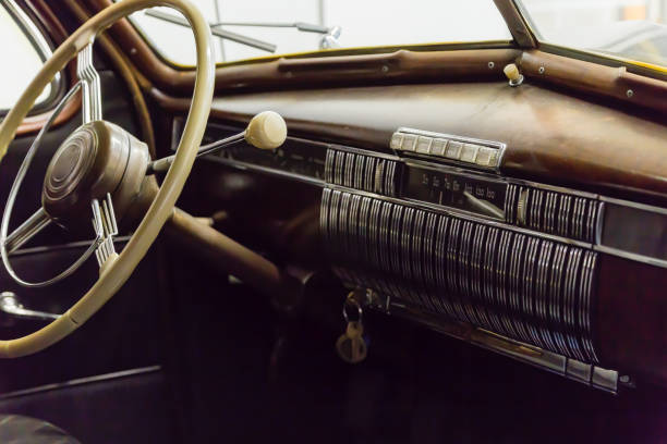 Front dashboard on a vintage car stock photo