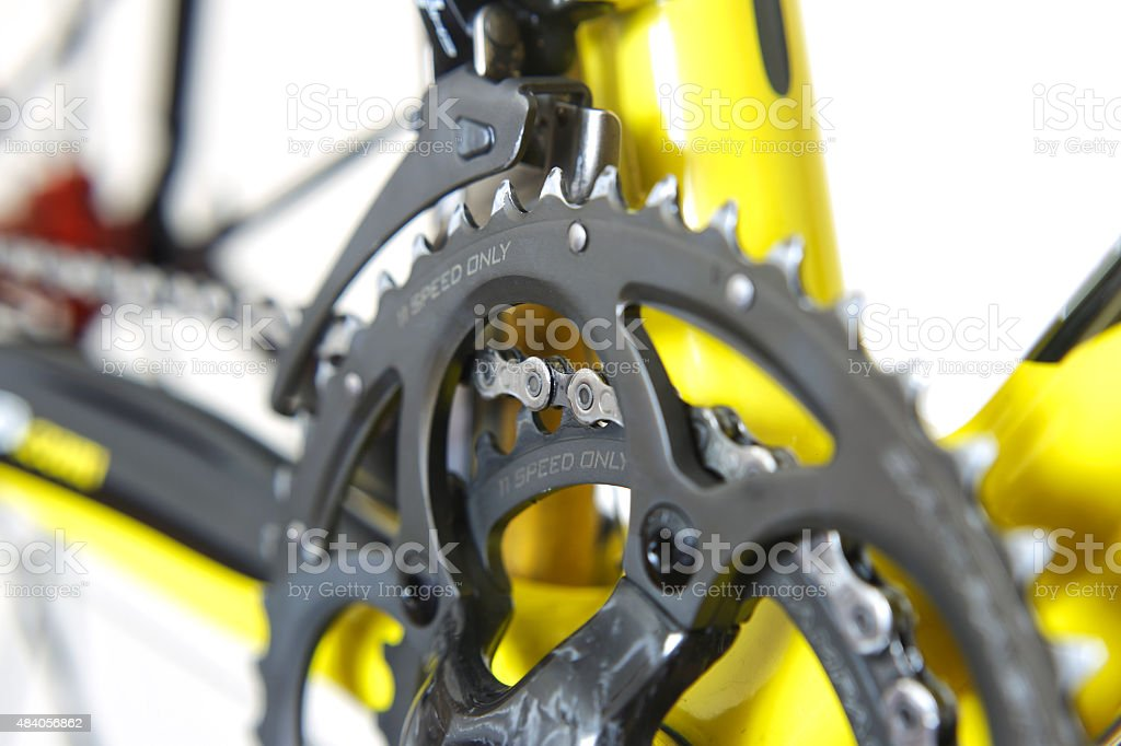 Front derailleurs with a crankset. stock photo