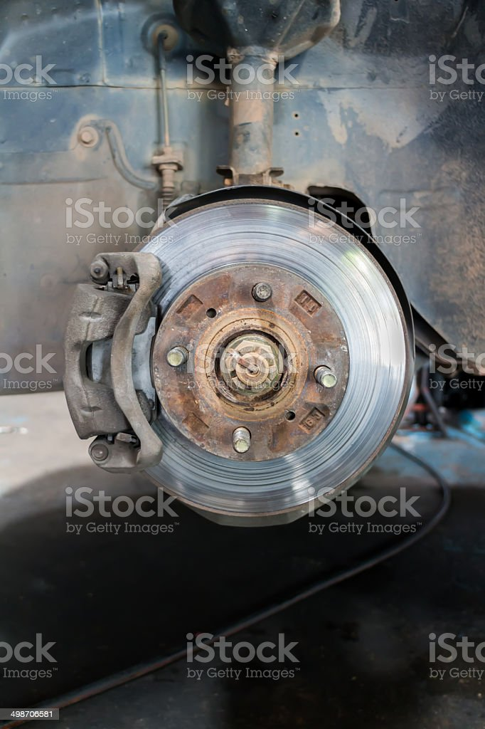 Front disk brake on car stock photo