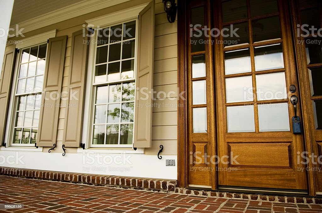 Front Door and Front Porch of Modern Home or House 免版稅 stock photo
