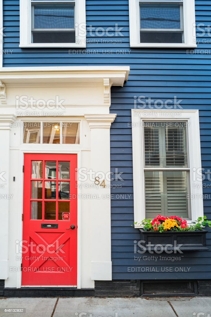 Front Door and Windows in historic Charlestown Boston Massachusetts USA stock photo