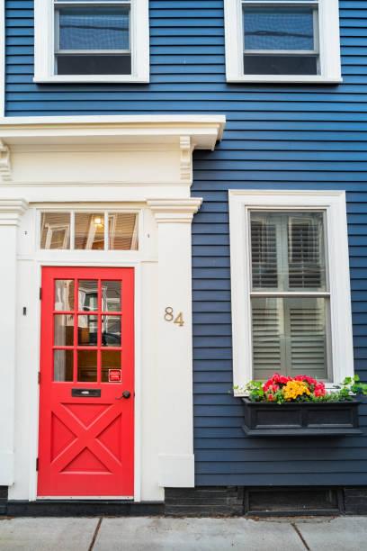 Front Door and Windows in historic Charlestown Boston Massachusetts USA stock photo