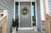 front door porch with decorations