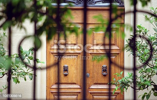 Elegant wooden front door, with brass doorknobs, behind an ornate wrought iron gate. Scan of Portra 400 colour film