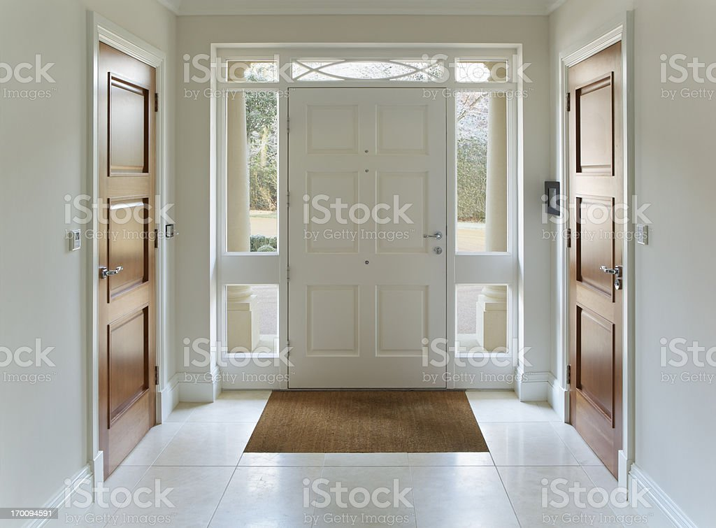 front door entrance to grand house stock photo