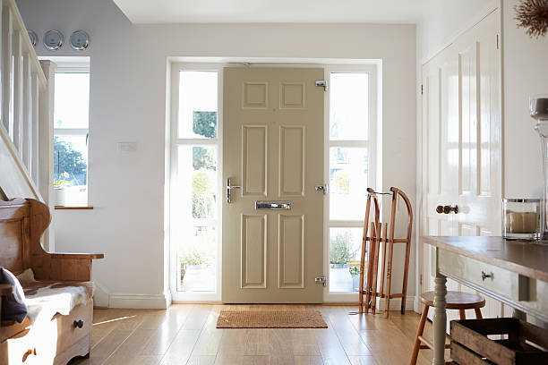front door of contemporary family home - entrance stock pictures, royalty-free photos & images