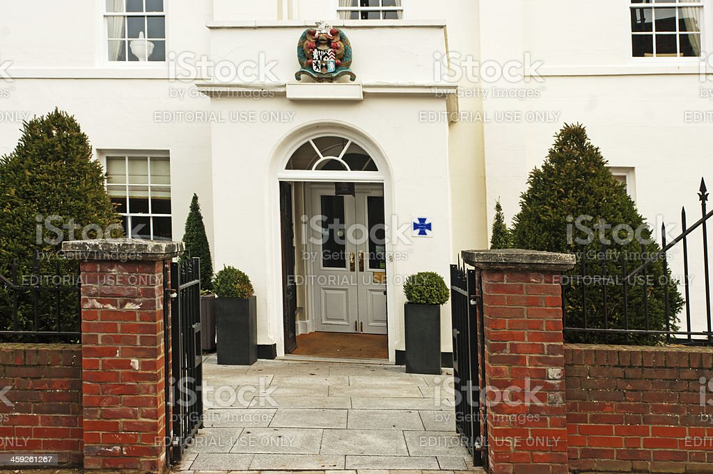 Front door of Oliver Cromwell's birthplace stock photo