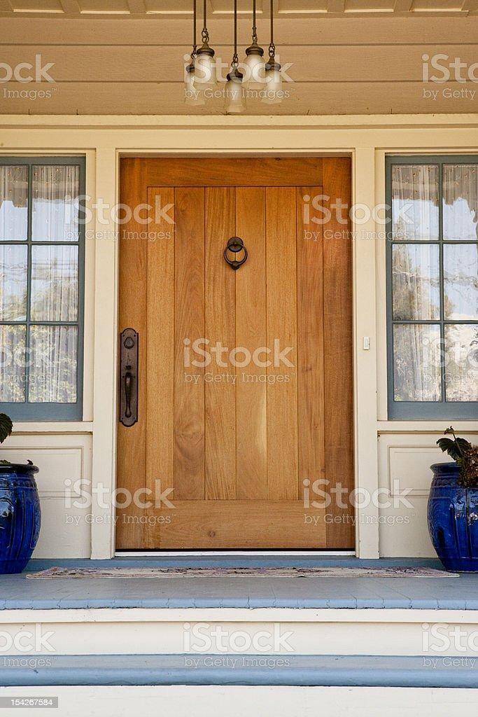 Front Door of Upscale Home stock photo