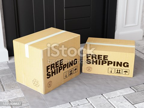 Front Door Package Free Shipping Concept. 3d Render