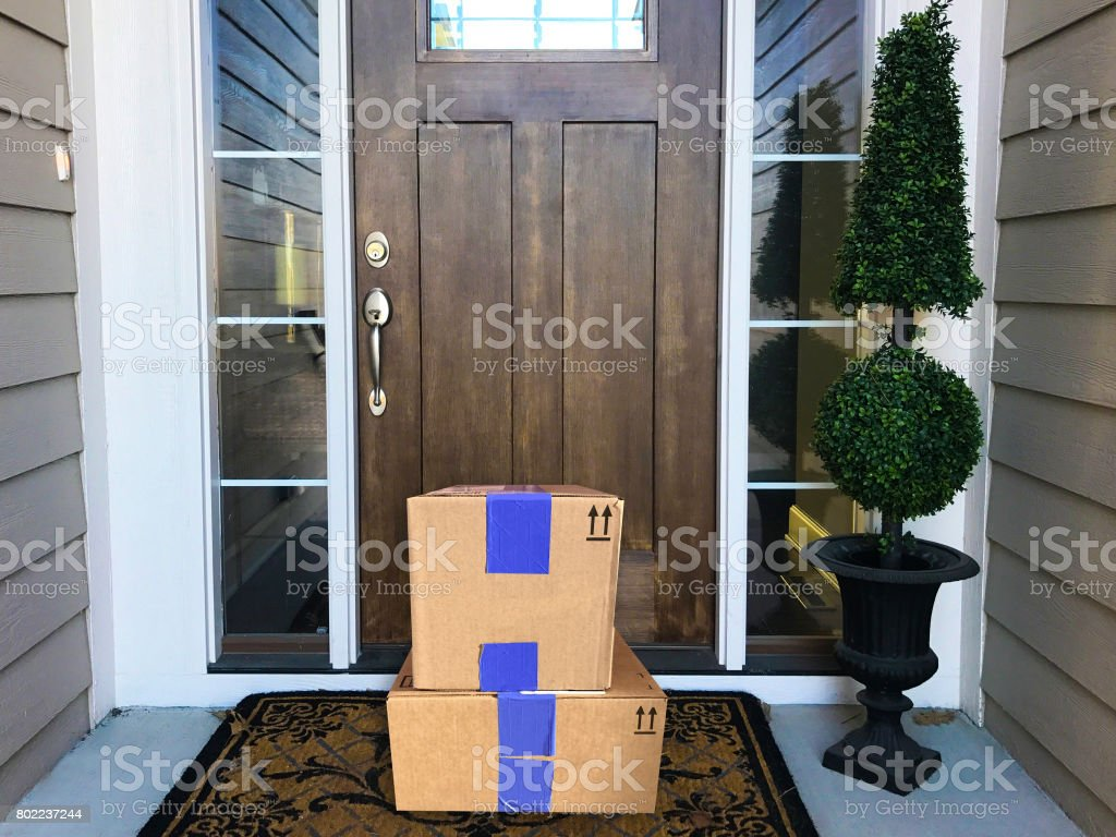 Front Door Packages stock photo