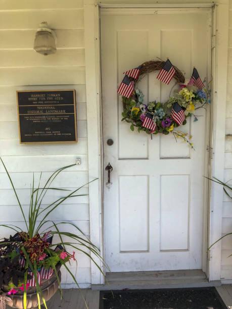 Front door to Harriet Tubman's home stock photo