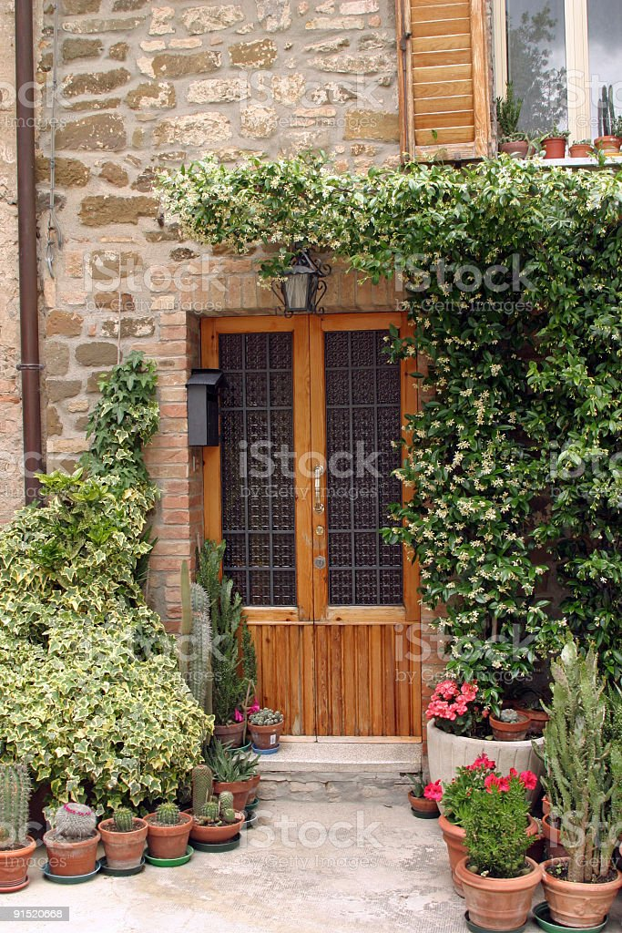 Front Door with Container Garden royalty-free stock photo