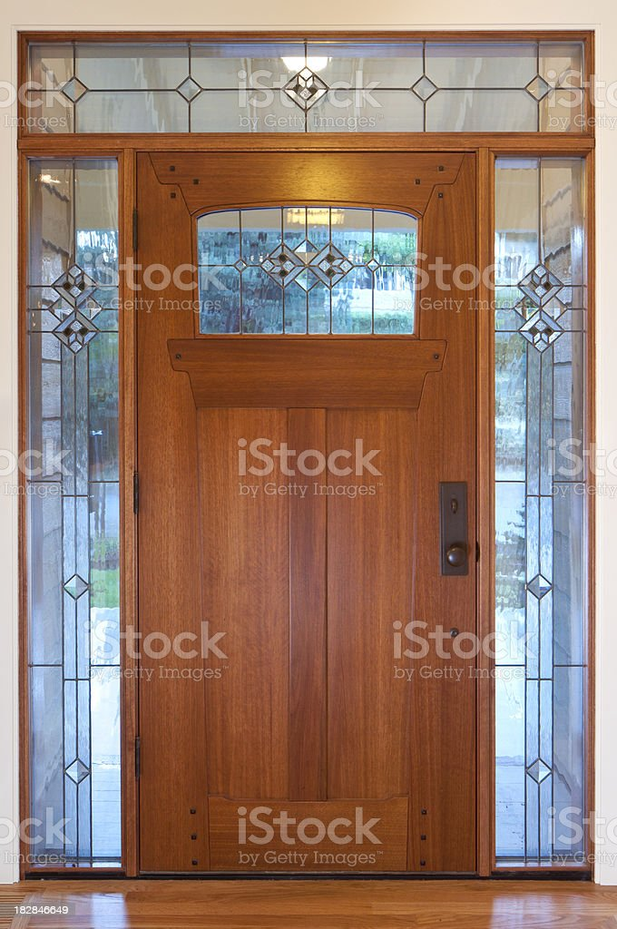 Front door with glass border royalty-free stock photo