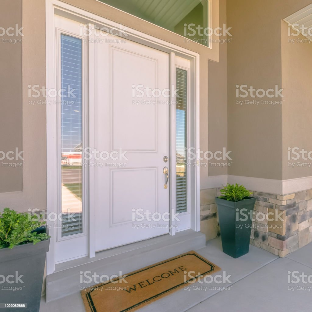 Front Door With Glass Panels And Potted Plants Stock Photo Download Image Now Istock