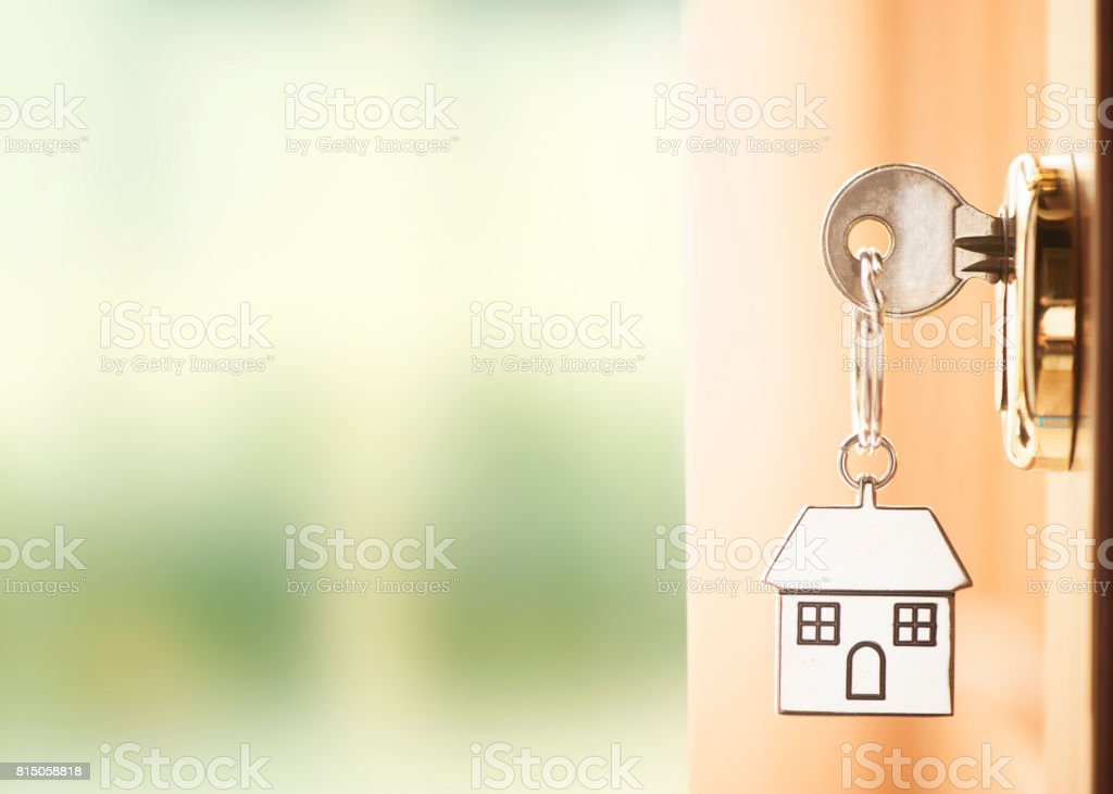 Front door with house keys royalty-free stock photo