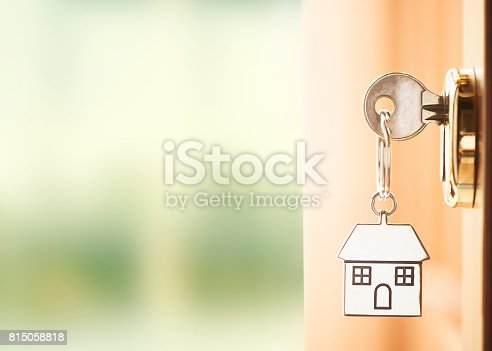 Front door with house keys with outside wiew