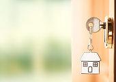istock Front door with house keys 815058818