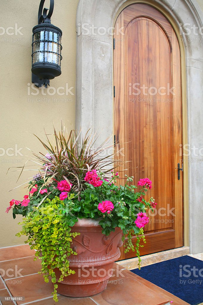 Front Door with Pot of Flowers royalty-free stock photo