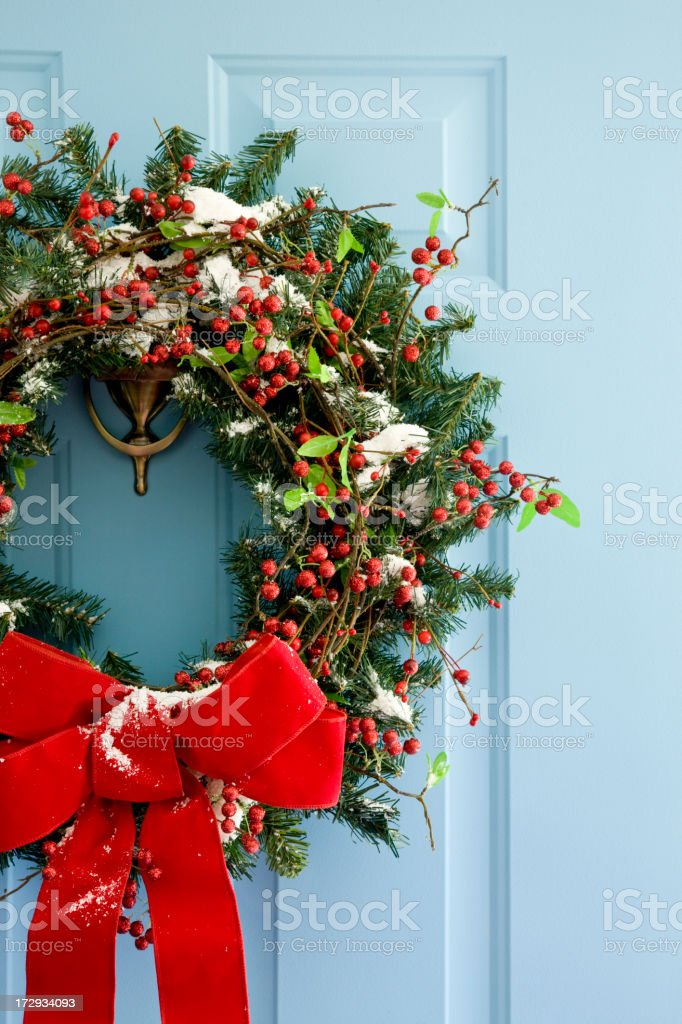 Front Door Wreath stock photo