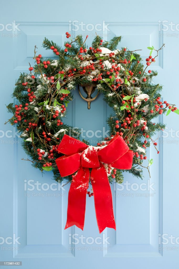 Front Door Wreath bildbanksfoto