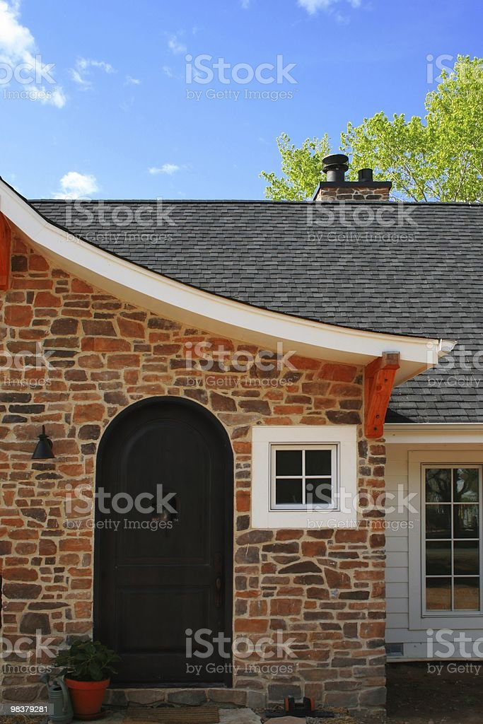 Front doors of a stone brick house. royalty-free stock photo