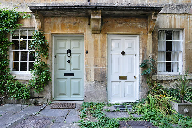 Front Doors of London Town Houses stock photo