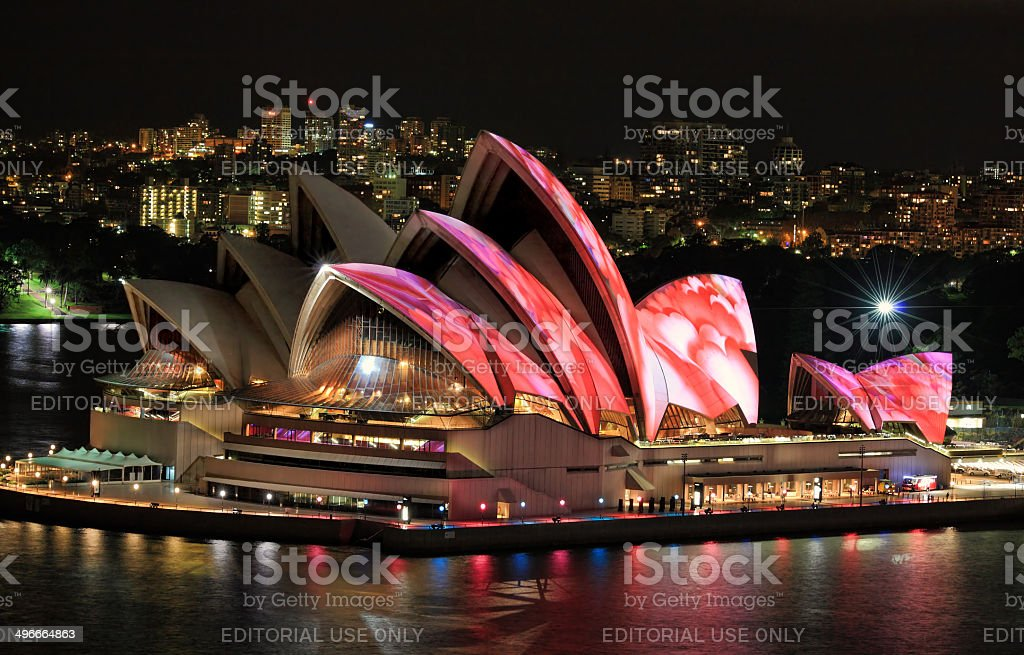 Front elevated view of Sydney Opera House stock photo