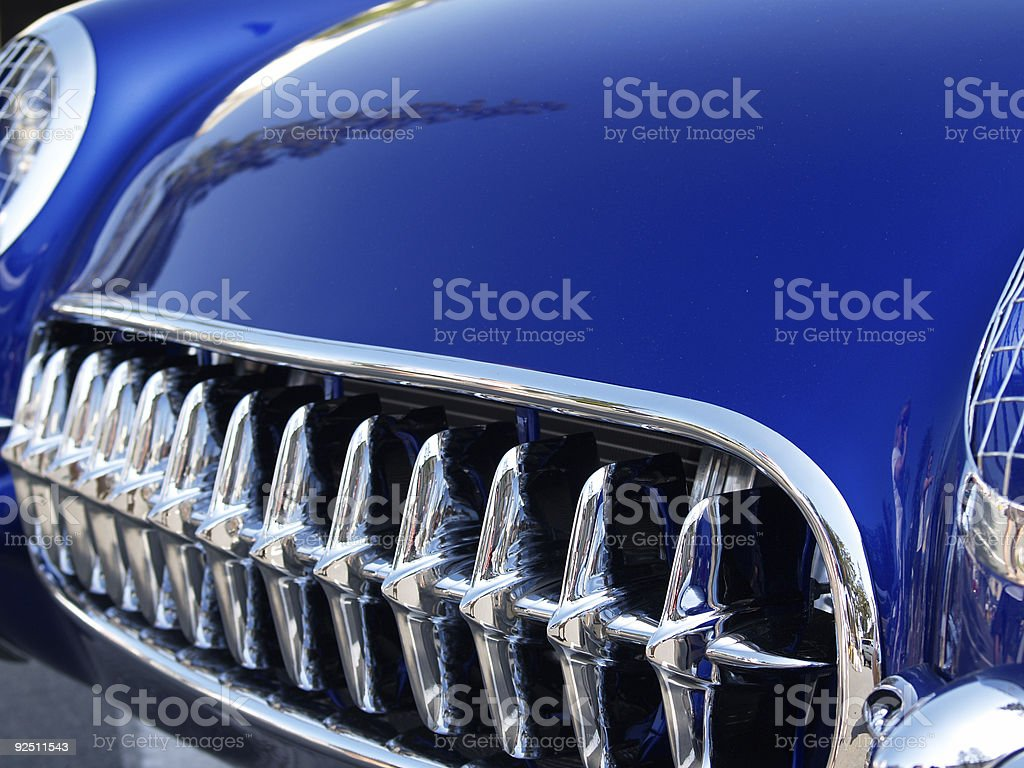 Front End of Blue Classic Car royalty-free stock photo