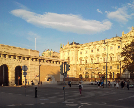 Vienna, Austria - July 20 2018: Front entrance of the Museum of Ethnology Museum (Welt Museum) in Vienna, Austria. The Museum of Ethnology housed in a wing of the Hofburg Imperial Palace.