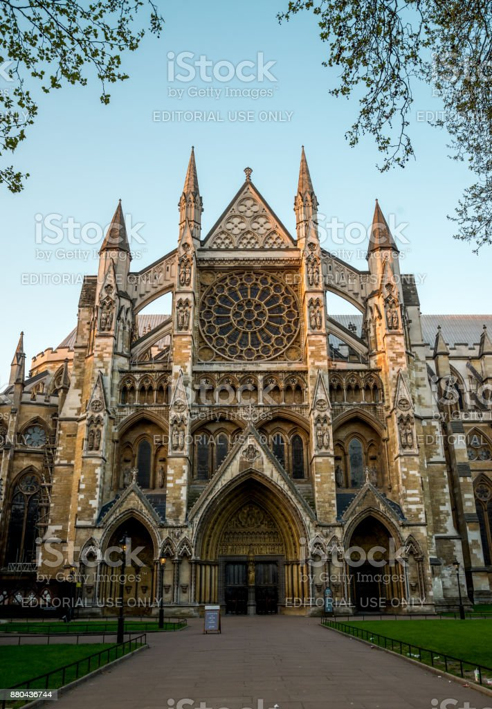 Front entrance to St Margaret's Church in Parliament Square, London stock photo