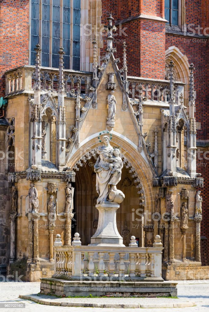 Front entrance to the Cathedral of St John Baptist stock photo