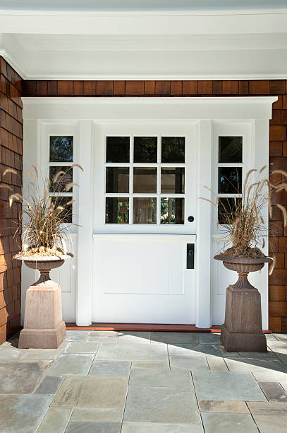 white exterior dutch doors front knotty pine door