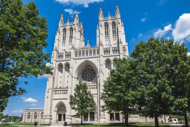 Front exterior view of Washington National Cathedral stock photo