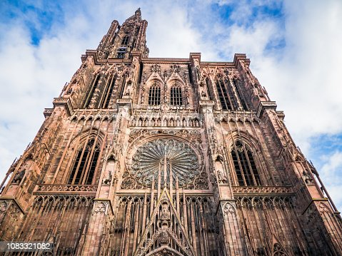 Elegant exterior architecture of front facade of Notre dame cathedral in Strasbourg, France