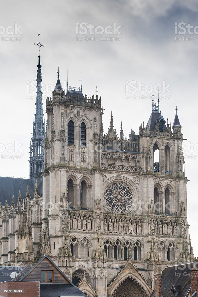 Front facade of the Amiens cathedral stock photo