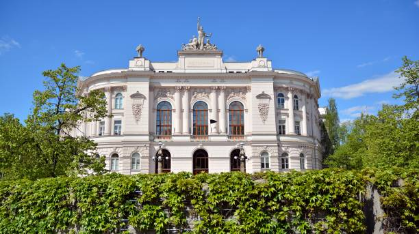 Front facade of the main auditorium building of Warsaw University of Technology stock photo