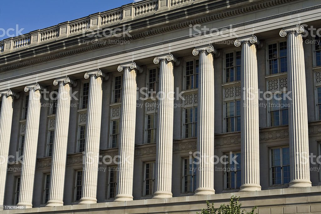 Front Facade Row Columns, Department of Commerce, Washington DC, USA royalty-free stock photo