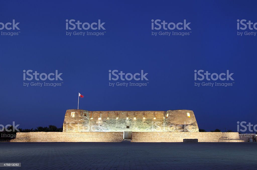 Front facades of Arad fort in blue hours stock photo
