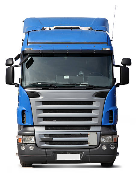front face big blue truck isolated on white background - front view stock photos and pictures