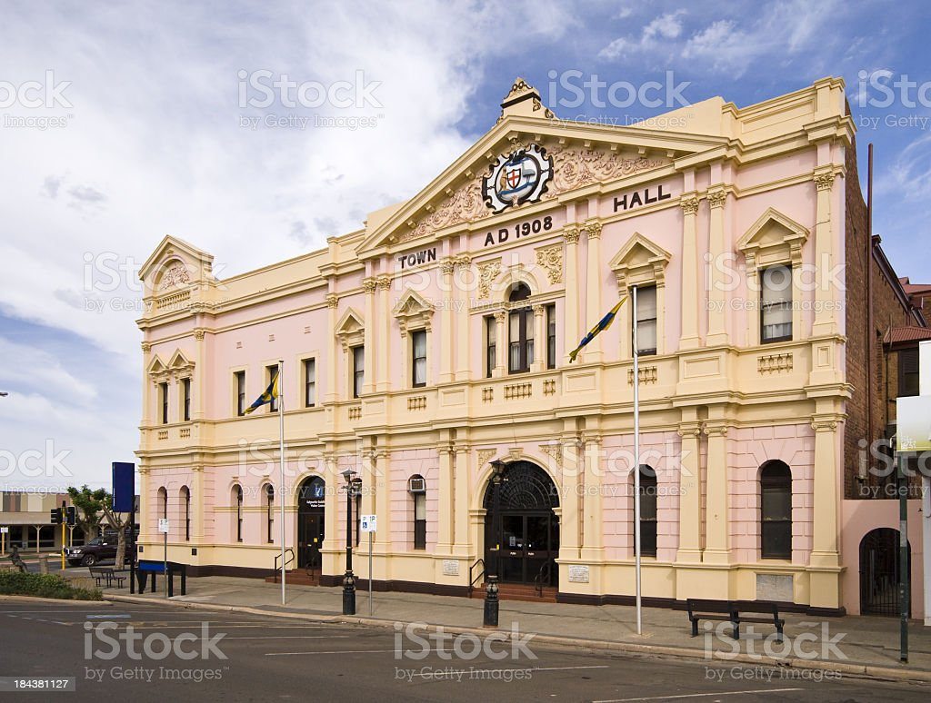 Front facing view of the Kalgoorlie Town Hall stock photo