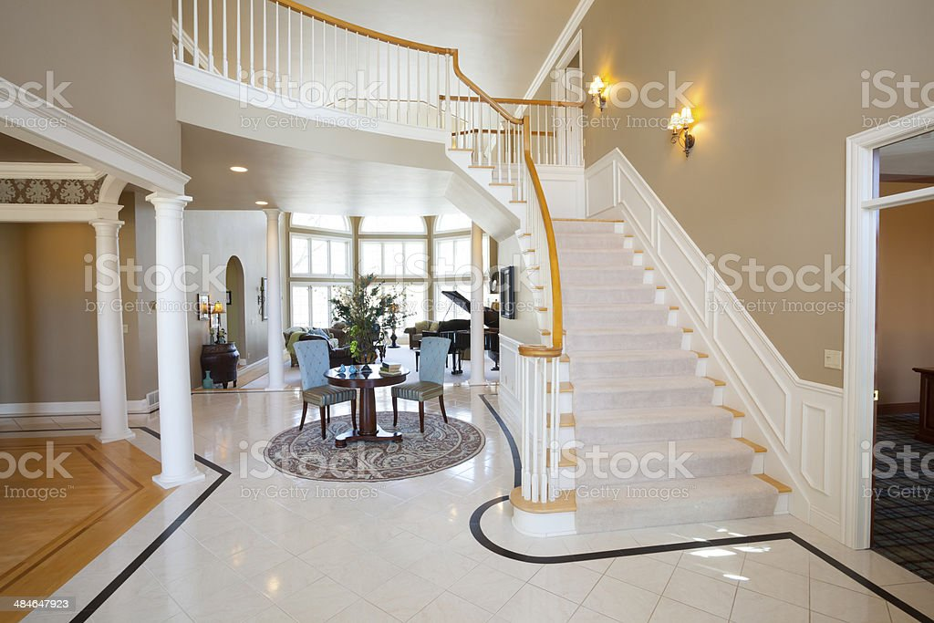 Front Foyer Area of Elegant Mansion House stock photo